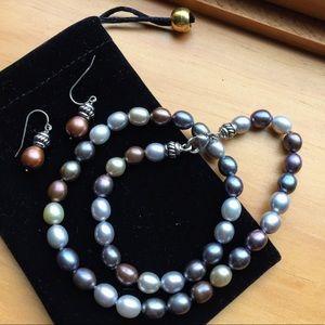 Vintage 925 silver pearl necklace earrings set